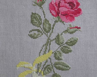 Pink embroidery on linen