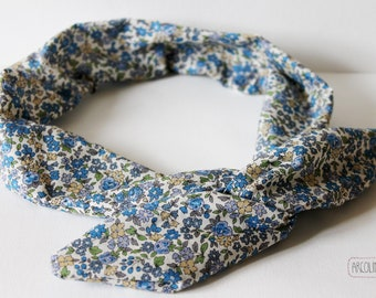 This headband headband headband fabric Japanese blue floral soft wire