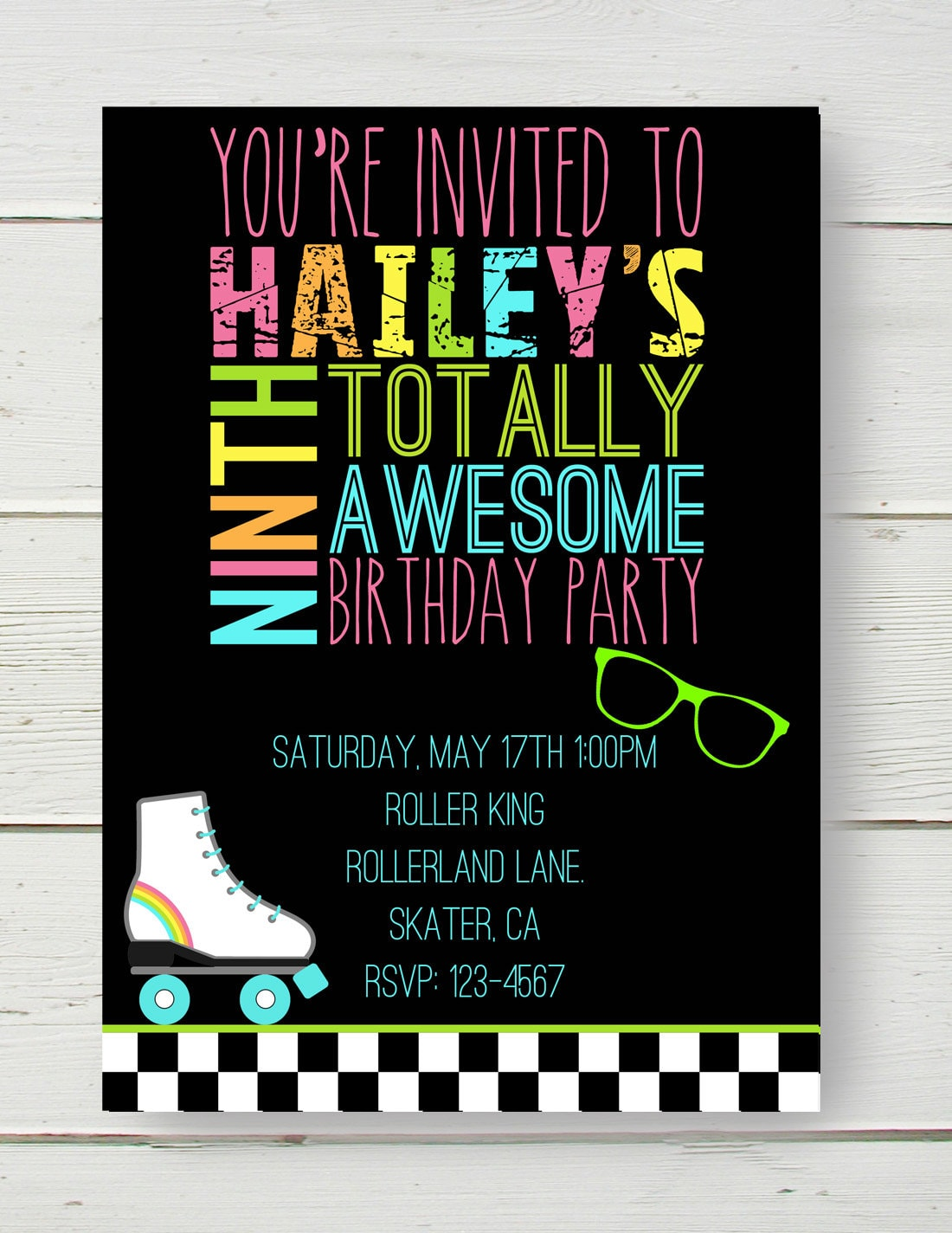 80\'s Party Neon Roller Skating Invitation Also Bowling