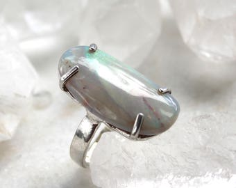 opal ring, statement ring, silver ring, sterling silver ring, gift for her, statement jewelry, boulder opal, fire opal
