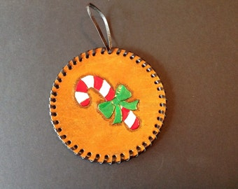 Hand-Tooled Leather Holiday/Christmas Ornament with Candy Cane