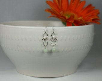 Aquamarine Swirl Drop Earrings