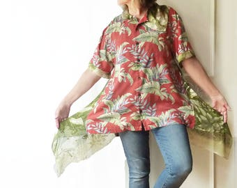 Plus size Hawaiian shirt, tropical red, silk, oversize top, artsy,  Upcycled, eco clothing, Tommy Bahama, olive green, 1X, 2X, FREE SHIPPING