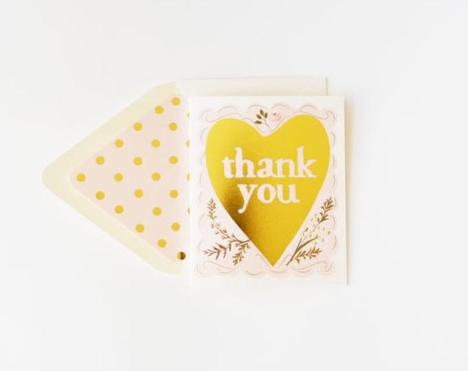 Thank You Gold Foil Heart Card