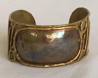 Handmade Brutalist Mixed Metals Cuff Bracelet, Copper, Brass, Vintage, 1970s