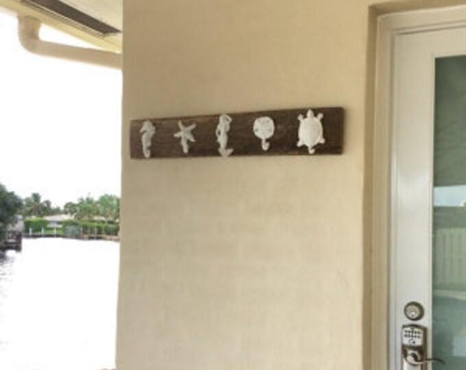 barnwood, rustic beach decor 5 towel hooks towels beach pool bathroom nursery boy's room mancave foyer mudroom