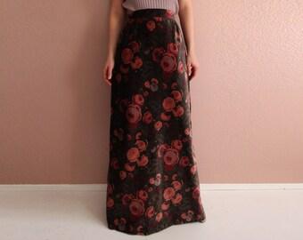VINTAGE Skirt Velvet Skirt Rose Floral 1970s Maxi Skirt Medium Long