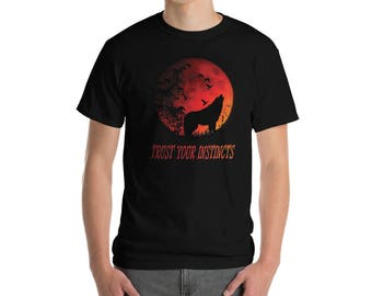 MEN ONLY Lone Wolf Shirt Red Moon Howling Trust Your Instincts Short-Sleeve T-Shirt