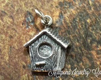 Birdhouse Charm, Sterling Silver Birdhouse Charm, Bird Charm, Bird Lover Charm, PS01247