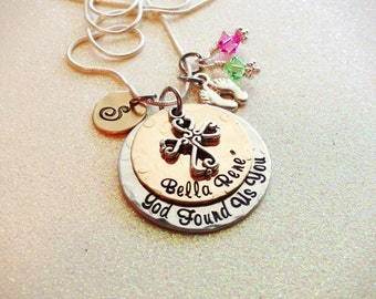 Beautiful Hand Stamped Adoption necklace, Gift gift for the new Mom with God Found Us You, personalized