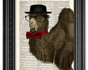 Mister Camel, Dictionary art print, Vintage book art print, upcycled dictionary page, Animal print, Home Wall Decor, Gift poster [ART 057]