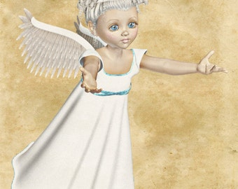 Angel Image, Angel Cutout, 3D Angel Template, Large 3D Angel Graphics Sheet[[Reaching Angel]] Transfer Template,Transparent Background,Angel