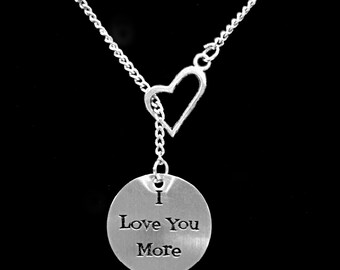 Gift For Her, Heart I Love You More Necklace, Wife Gift, Mom Gift Y Lariat Necklace