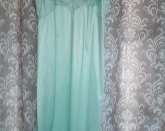 Mint Green Vintage Slip, Slip Dress, Lace Slip