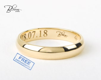 His and Hers Wedding Band Yellow Gold Wedding Ring 14K Solid Gold Classic Engraved Couple Ring BloomDiamonds