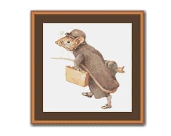 Johnny Town-Mouse Cross Stitch Pattern, Beatrix Potter, Instant Download Cross Stitch Chart (BP020)
