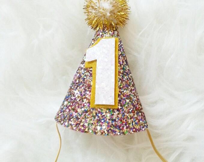 Mini Glittery Birthday Girl Party Hat   Birthday   Cake Smash   1st Birthday   Baby Birthday   Sprinkles Theme Party Hat
