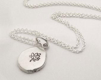 Recycled Sterling Stamped Charm Necklace
