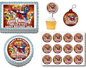 Power Rangers Edible Birthday Cake Toppers, Plastic cupcake Picks, Gift Tags or Stickers
