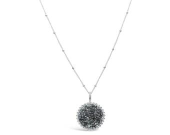 Platinum Silver Druzy Neckace, Druzy Jewelry, Drusy Necklace, Drusy Jewelry, Druzy Quartz Necklace, Bridesmaid Jewelry, Bridesmaid Necklace