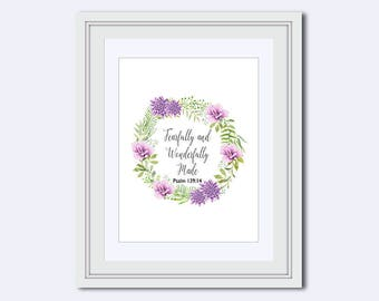 Fearfully and Wonderfully Made - Psalm 139:14 - gift for Christian - nursery print - Bible Verse Print - Christian print - watercolor art