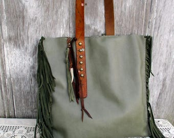Leather Bag in Sage Green with Italian Suede Fringe, Studs,  Vintage Belt Strap - Slouchy Shoulder Bag - Boho Style - Rustic  by Stacy Leigh