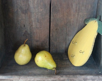 Rustic Wooden Pear Plaque with Hooks - Primitive - Naive Art - Handmade - Yellow Pear - Painted Plywood Pear