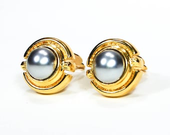 Gray Pearl Gold Tone Clip Earrings Round Shape High End Costume Jewelry