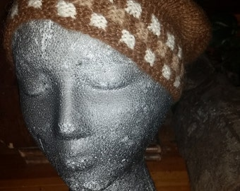 Brown-Checkered-Ivory-Alpaca Hat-Cap-Slouch-Slouchy