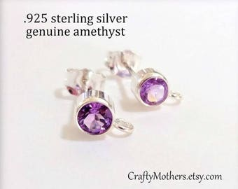 Purple Amethyst Gemstone and Sterling Post Earrings w/ backings - 1 Pair (2 pieces), violet purple, bridal