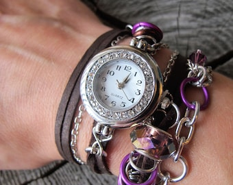 Brown Leather Watch ~ Womens Leather Watch ~ Leather and Chain Watch ~ Brown Wrap Watch ~ Wrap Around Leather Watch ~ Leather and Crystal