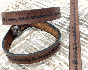 Serenity Prayer Leather Bracelet Wrap Laser engraved bracelet God Grant me the Courage Bracelet --7242