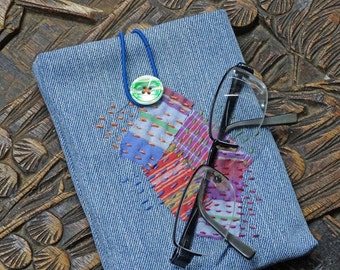 Boro Style Hand Stitched Denim Pouch,Upcycled Clothing,Upcycled Jeans,Glasses Case, Gift Card Holder