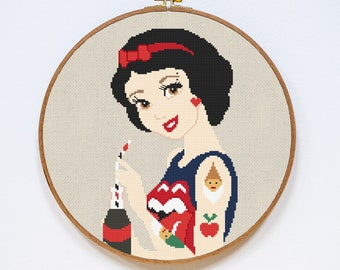 Snow White Cross Stitch Pattern, Modern Disney Tattoo Princess Cross Stitch Pattern, Easy Cross Stitch Chart, PDF Format, Instant Download