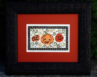 """Halloween Cross Stitch Instant Download Pattern """"Pumpkin Patch"""" Counted Embroidery. Whimsical Design X Stitch. Pillow Frame October Autumn"""
