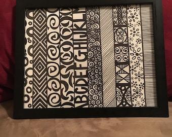One-of-a-kind Design Stripes Framed Doodle