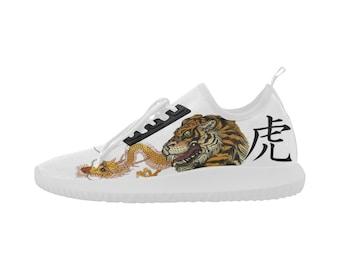 Japanese Tiger X Golden Dragon Ultra Light Sneakers - Custom Shoes Men's & Women's - Hip Hop Sneakers, Sneaker Heads
