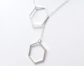 Silver Hexagon Necklace, Geometric Necklace, honeycomb, sterling silver, rhodium, summer, matte, simple, minimal