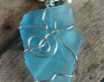 Puerto Rico Sea Glass with Bone, Sea Shells and Freshwater Pearls
