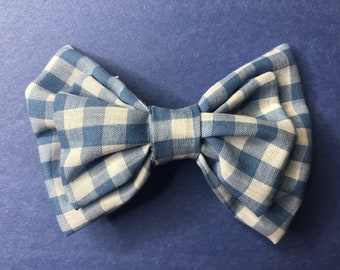 Hair Bow Barrette Blue and White Checkered Print