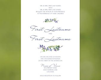 Purple Leaves Wedding Invitations