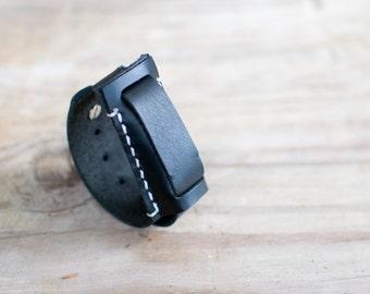 Handmade leather Fitbit Flex bracelet, simple fitbit flex band, handcrafted fitbit flex band bracelet, black fitbit flex bracelet, black