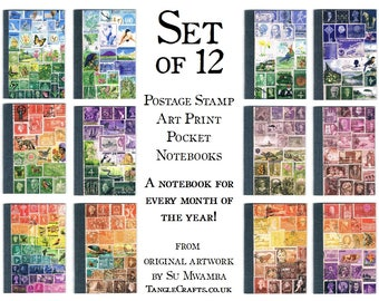 Mixed Set of 12 Notebooks - Monthly Postage Stamp Journal Set