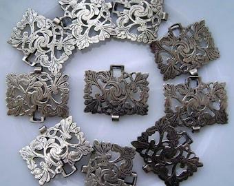 vintage metal bracelet focal, 1 jewelry finding, scroll design, metal nurse belt, EPNS, floral pattern, vintage jewelry supply, AnvilsAttic