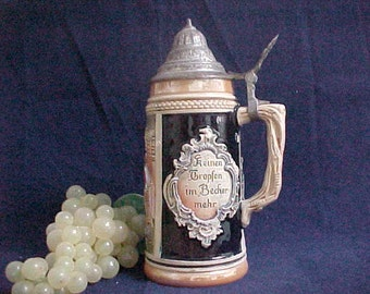 Vintage Thewalt Western Germany Beer Stein With Attched Lid, Lyrics From German Song Die Lindenwirtin, Collectible Mid Century Ceramics