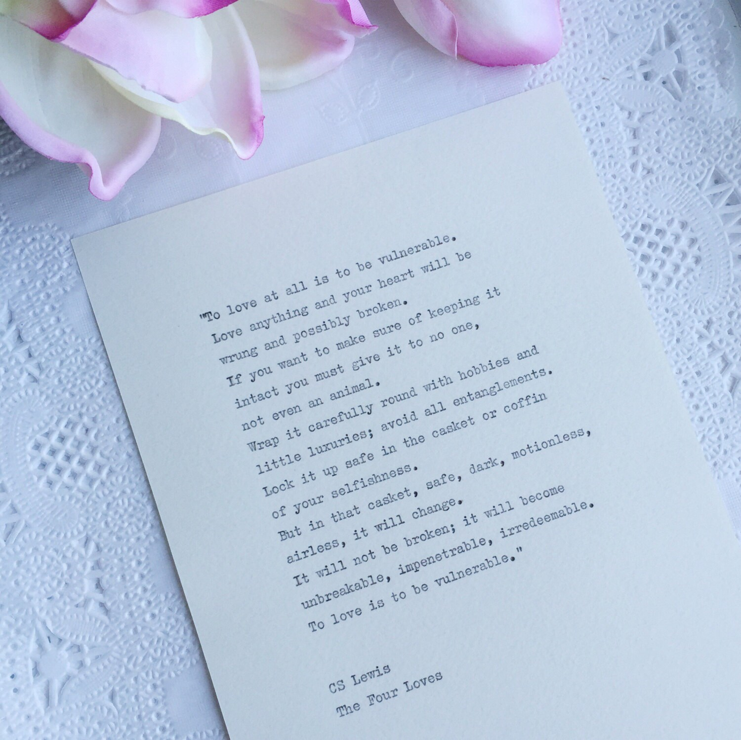 Cs Lewis Quotes On Love Cs Lewis The Four Loves Quote Wedding Reading Hand Typed On