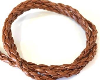 ❤ X 1 meter FAUX leather BRAID 3mm Brown ❤