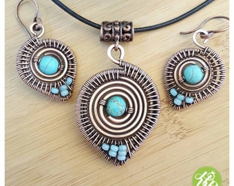 Wire turquoise jewelry set, wire necklace turquoise,turquoise  wire earrings, tribal jewelry wire, boho jewelry set, copper wire jewelry