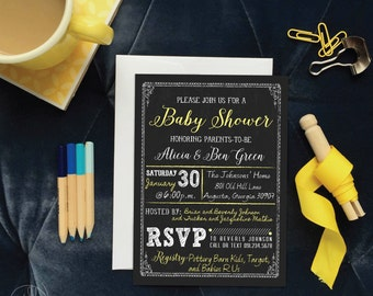 Chalkboard BABY SHOWER INVITATION Couples Chalk Board Invites Yellow Gender Neutral Co-ed Shower Printable Blackboard - Alicia