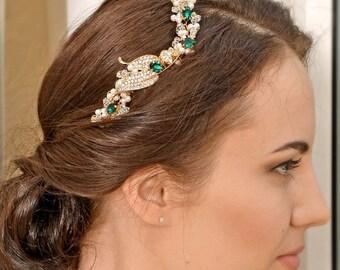 Bridal hair accessory ,Wedding hair piece, Bridal Headpiece, Bridal hair comb,Emerald Green Headpiece, Bridal Comb Prom Headpiece-EMERALDINE